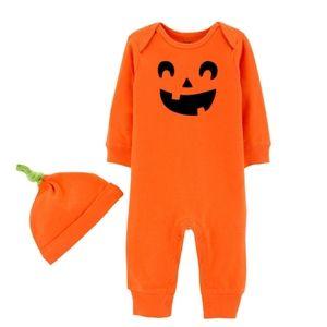 Carter's Jack-o-lantern jumpsuit and hat set